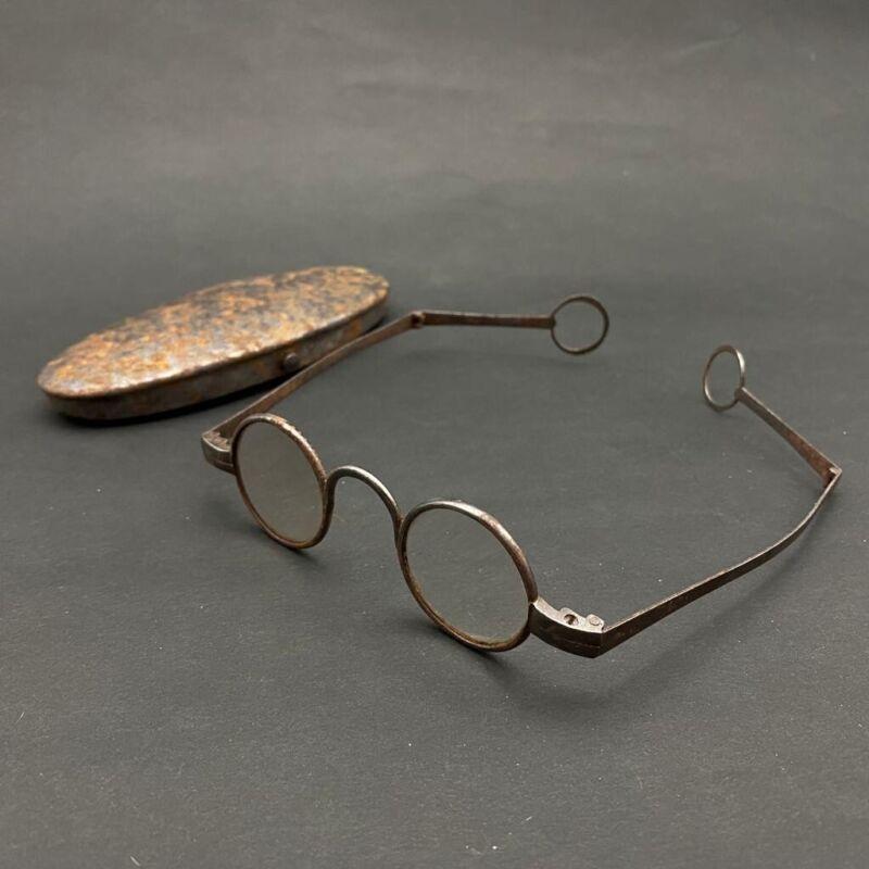 18th Century Antique Spectacles Antique Eyeglasses Steel Antique Spectacle Case