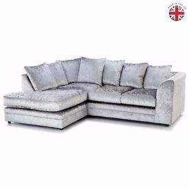 ⭕🛑⭕ ***DISCOUNTED PRICE ***⭕🛑⭕New Dylan Crush Velvet Corner or 3 and 2 Sofa in Black, Silver