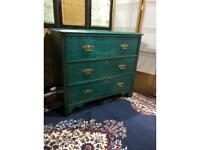 Antique 3 Drawers Chest - Green