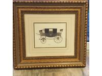 Antique car/carriage picture with frame