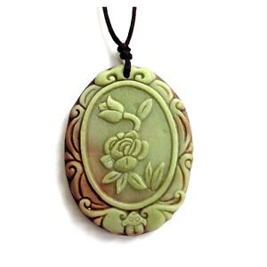 One-Bead-Two-Layer-Natural-Stone-Flower-Bat-Amulet-Pendant-Happy-Lucky-Jewelry