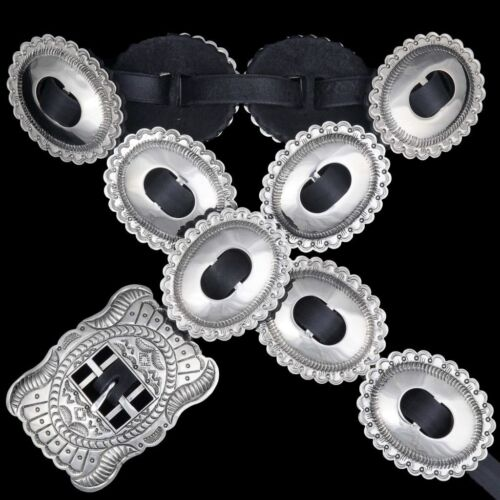 Navajo Indian Classic FIRST PHASE Style Stamped Silver Concho Belt - Joey McCray