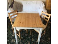 pine table 74x74cmand 2 chairs in good condition , reason for selling: relocation