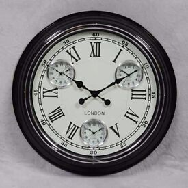 Stylish Black Frame White Face Multi Time Zone Wall Clock
