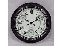 Stylish Black Frame White Face Multi Time Zone Wall Clock