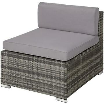 tectake - wicker tuinset  loungeset Mailand grijs - 403220