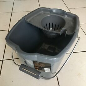 Tesco Grey Plastic Bucket with Drainer NEW