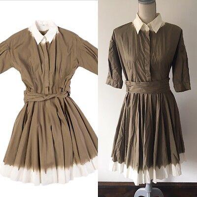 BNWT Prada Olive Green Dip Tie Dye Pleated Cotton Shirt Dress 44 US 8