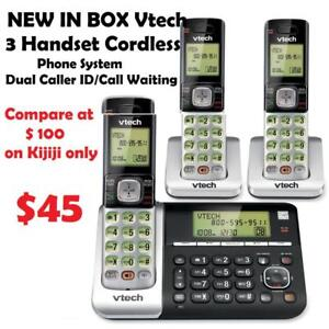 $ 45 NEW IN BOX Vtech 3 Handset Cordless Phone System with Dual Caller ID/Call Waiting Expandable up to 5 handsets