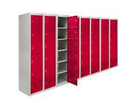 Metal Lockers 6 Doors x 8 Steel Storage Unit Locker Lockable Staff School Red 45cm D A2788*