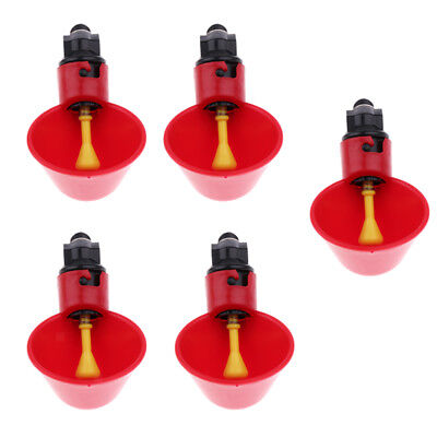 5Pcs Chicken Poultry Automatic Watering Cup Bird Pigeon Drinker Feeder Bowl
