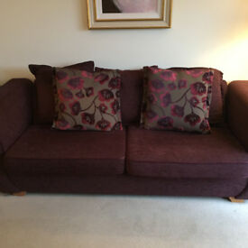 3 Seat, and 2 Seat matching Mulberry coloured couches & cusions. 2 Years Old. £500