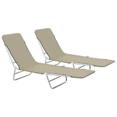 vidaXL 2x Foldable Sunloungers Taupe Outdoor Garden Camping Recliner Day Bed