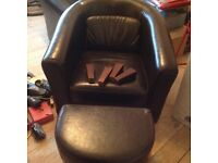 Club chair faux leather brown