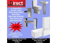 L-Shape Bath Suite. 1700 L-Shape Bath, Panel,Legs,Screen, Square Toilet and Basin, Tap Set Included