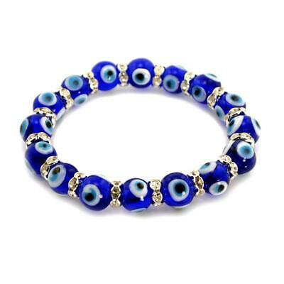 EVIL EYE BRACELET 10mm Glass Bead Blue Stretch Good Luck Protection Lampwork NEW