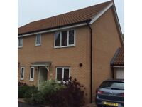 Roundhouse Park, Cringleford - mod 3 bedroom semi (furnished), desirable loc. close to Uni and Hosp.