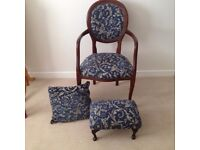 ARMCHAIR AND FOOTSTOOL (ANTIQUE STYLE)