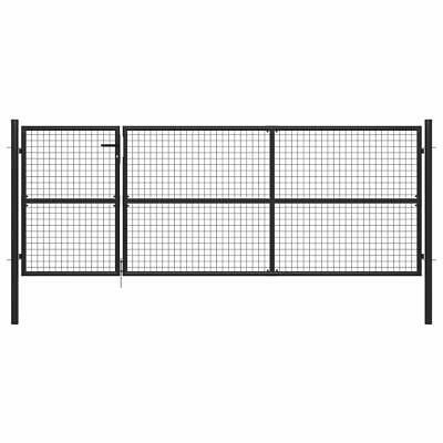 vidaXL Garden Gate Steel Anthracite 350x125cm Outdoor Yard Fence Mesh Door