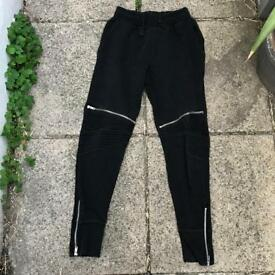 Zara black zipped joggers size small