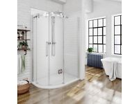 Frameless Offset Shower Enclosure and Tray Brand New