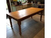 Price Reduction: Farmhouse pine kitchen table. 182cm x 90cm