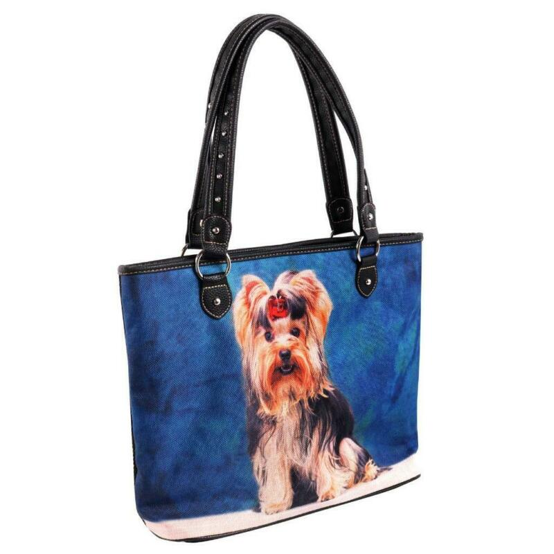 Montana West Printed Striped Canvas Yorkshire Terrier Yorkie Dog Tote Bag Purse