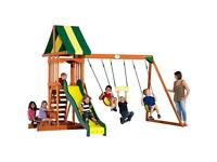 Swing and slide outdoor playset