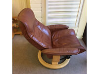 Ekornes Stressles Recliner in Tan Leather with Footstool