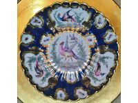 EDME SAMSON Fine Antique Blue Scale Ground Exotic Birds Insects Plate Worcester Chelsea Style