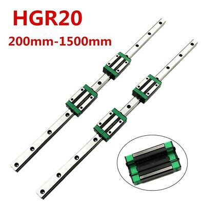 Hgr20 200mm-1500mm 2pcs Linear Guide Rail 4pcs Hgh20ca Slider Block For Cnc