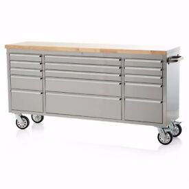 "72"" Stainless Steel 15 Drawer Work Bench Tool Chest Cabinet With Solid Wood Countertop - Like New"