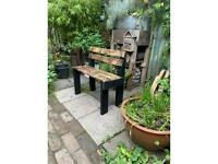 Super cool wide garden seat , from reclaimed timber, ideal for small spaces, delivery available