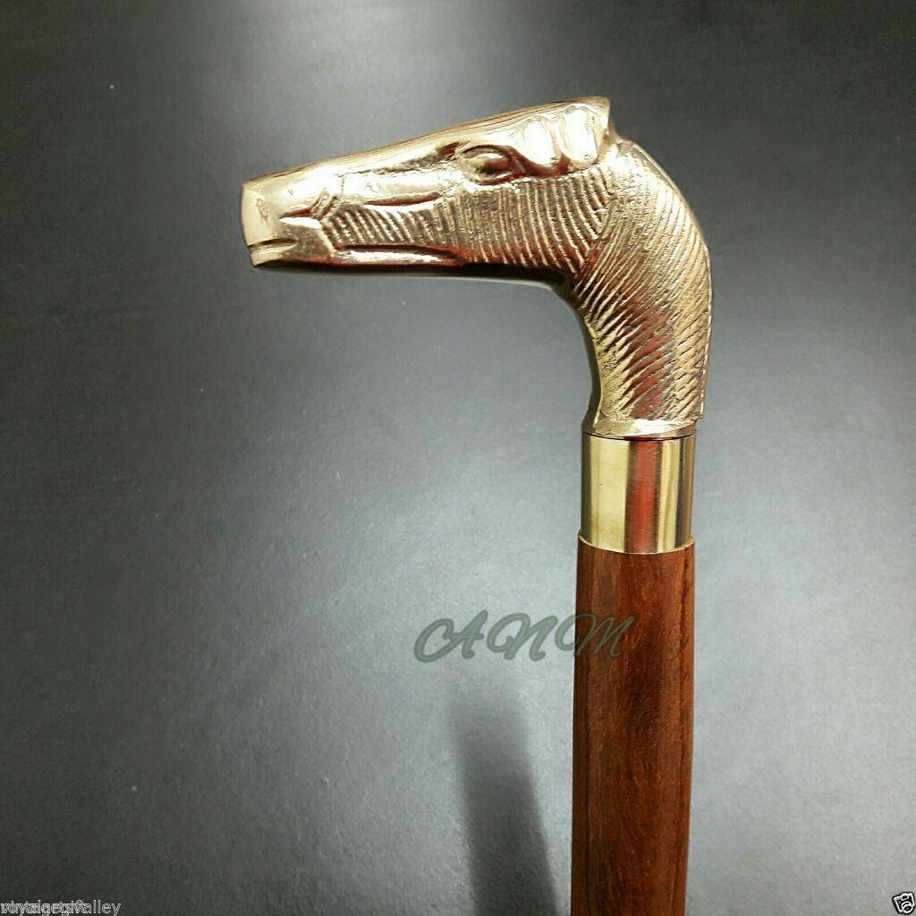 Antique Brass Hours Handle Wooden Walking Stick Cane Men Accessories Collectible