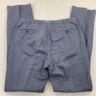 Incotex Mens Dress Pants Blue Flat Front Pockets Belt Loop Trousers 36 X 35