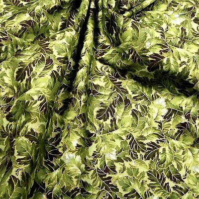 Green Gold Leaves (Gorgeous Metallic Gold &  Green Packed Leaves Cotton Fabric by)