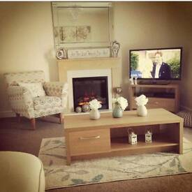 Oak effect coffee table and TV stand for sale.