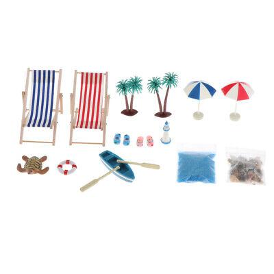 1:12 Strand-Mikrolandschaft Miniatur Strand Stuhl Mini Liegestuhl Deko Set