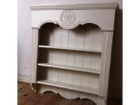 Large Antique English Rose Bookcase or Kitchen Plate Rack Shelving Painted Laura Ashley / Delivery