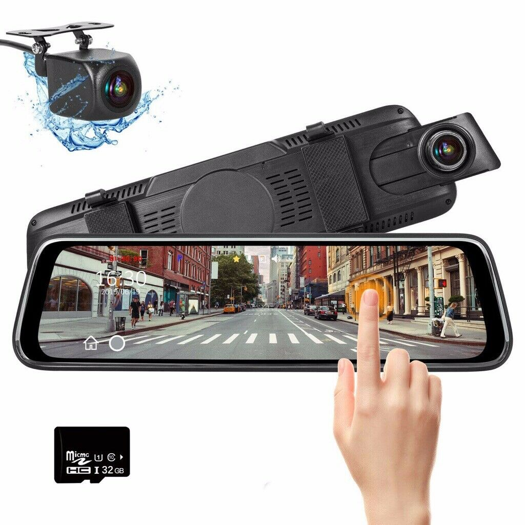 1080P HD Dual Lens Touch Screen Car DVR Mirror Dash Cam Front and Rear with  32GB Memory Card | in Hall Green, West Midlands | Gumtree