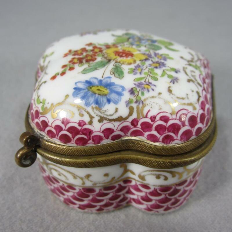 French or Dresden Porcelain Patch Box Handpainted Flowers - Klemm Thieme Hamann