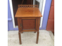 Splendid Antique Mahogany Bedside Table Cupboard Cabinet