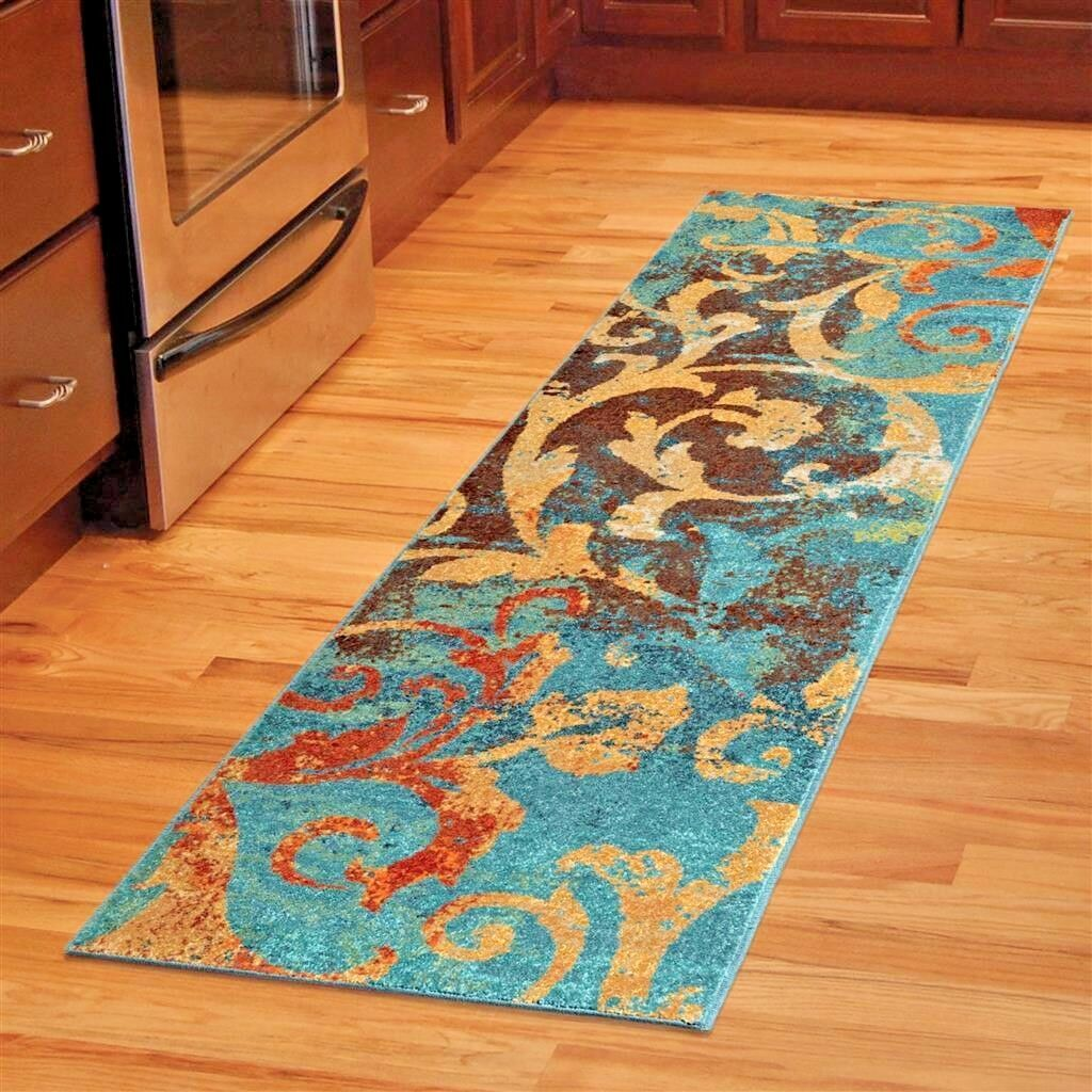Details about RUNNER RUGS CARPET RUNNERS AREA RUG RUNNERS MODERN COLORFUL  BLUE KITCHEN RUGS ~~