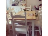 PINE DINING TABLE + 6 CHAIRS FREE DELIVERY