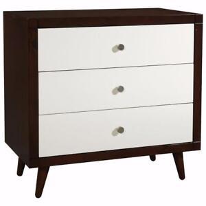 Stork Craft 03560-721 Bayshore Modern 3-Drawer Kids Dresser - White/Espresso(Assembled) ***Read***