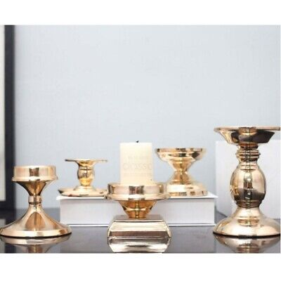 Gold Plated Candle Base Holder Iron Candlestick Pillar Candlelight Stand Stand Base Pillar Candle Holder