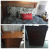 Beautiful Queen Bed Set with Dresser and Nightstand
