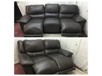 Brown leather 3/2 Seater electric recliner sofas