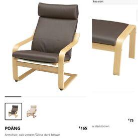 IKEA POANG Leather Armchair & Footstool