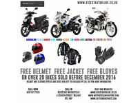 FREE HELMET JACKET AND GLOVES WITH SELECTED BIKES AND SCOOTER AT KICKSTART MOTORCYCLES